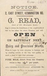 Advert For G. Read Dairy & Provision Stores